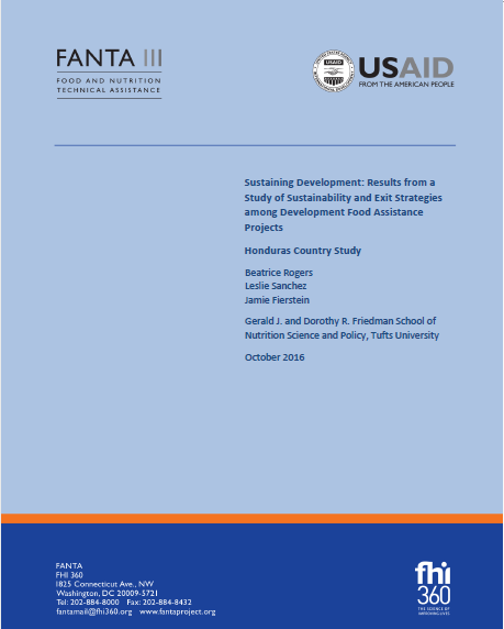 Download Resource: Sustaining Development: Results from a Study of Sustainability and Exit Strategies among Development Food Assistance Projects - Honduras Country Study