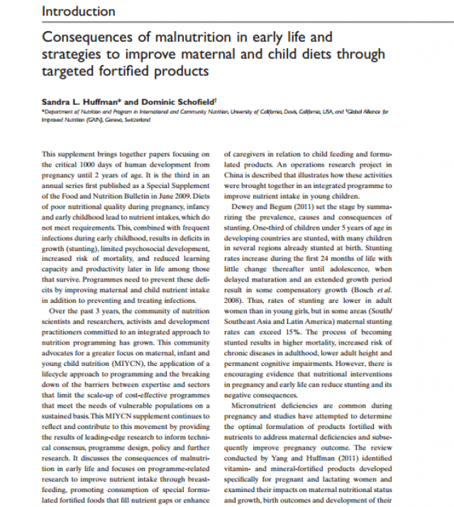 Download Resource: Consequences of Malnutrition in Early Life and Strategies to Improve Maternal and Child Diets through Targeted Fortified Products