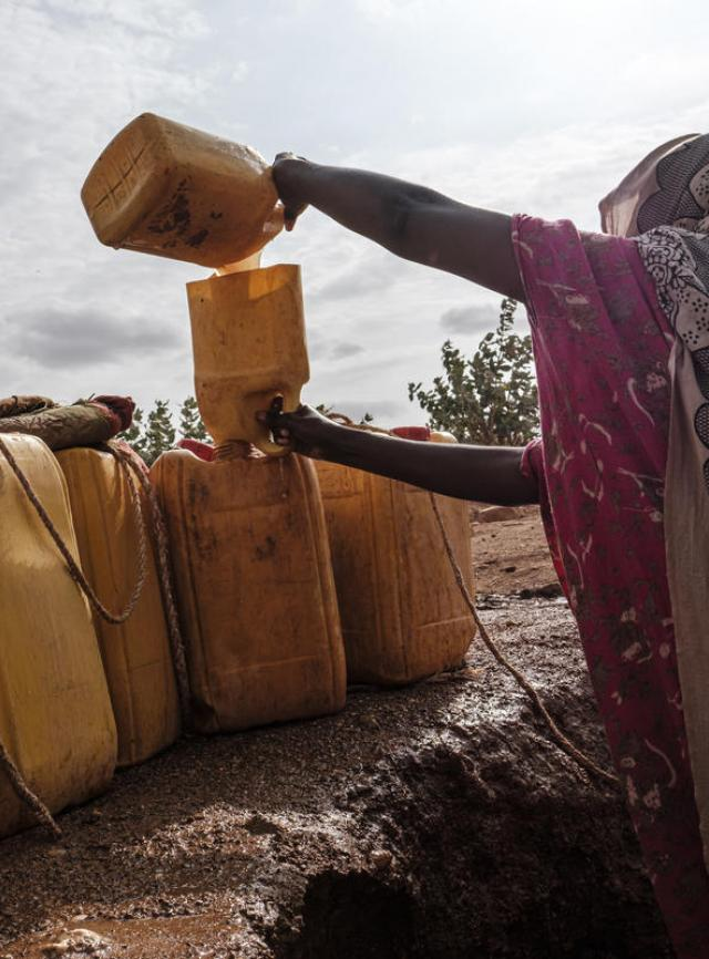 A woman pulls water out of a hole in the bed of a dried river in the Somali Region, June 28, 2019.